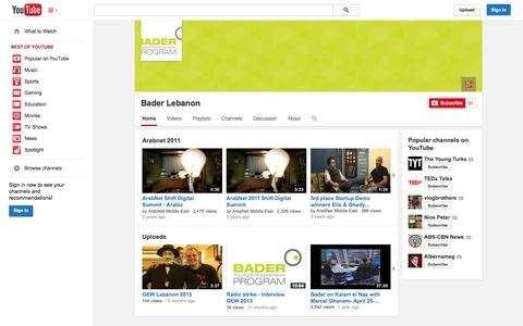 Screenshot of YouTube Page youtube.com - Bader Lebanon  - YouTube - captured Oct. 23, 2014