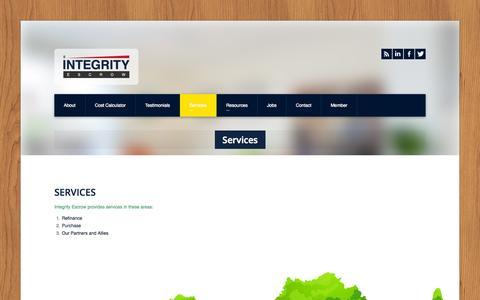 Screenshot of Services Page intescrow.com - Integrity Escrow » Services - captured Oct. 6, 2014