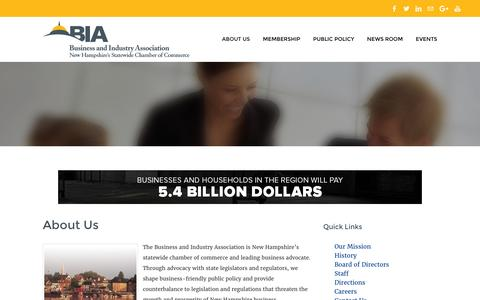 Screenshot of About Page biaofnh.com - ABOUT US - Business and Industry Association   New Hampshire's Statewide Chamber of Commerce - captured Feb. 8, 2016