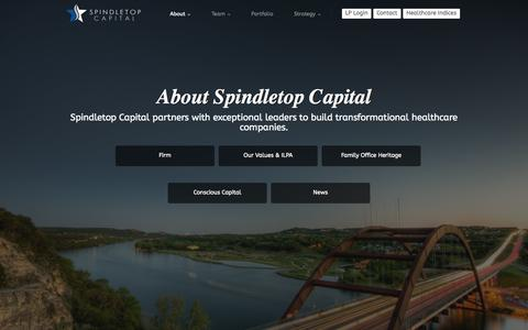 Screenshot of About Page spindletopcapital.com - About | Spindletop Capital - captured Oct. 1, 2014