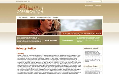 Screenshot of Privacy Page coppercanyontax.com - Privacy Policy | Copper Canyon Tax and Accounting Services | Tucson, Arizona - captured Oct. 3, 2014