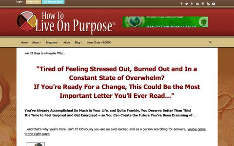 Screenshot of Signup Page howtoliveonpurpose.com - Take the Quest! | How To Live On Purpose - captured Sept. 22, 2018