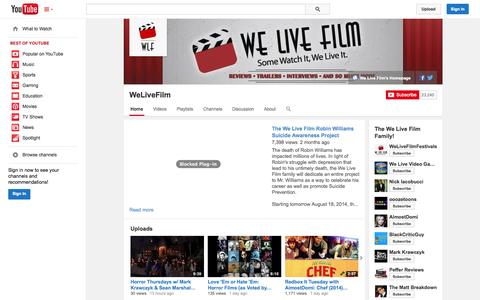 Screenshot of YouTube Page youtube.com - WeLiveFilm  - YouTube - captured Oct. 31, 2014