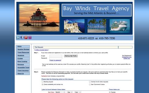 Screenshot of Contact Page baywindstravel.com - Trip Planner -  	Bay Winds Travel Agency, Inc - - captured Oct. 5, 2014