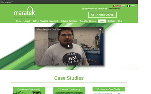 Screenshot of Case Studies Page maratek.com - Maratek Waste Recycling Case Studies - captured Oct. 20, 2016