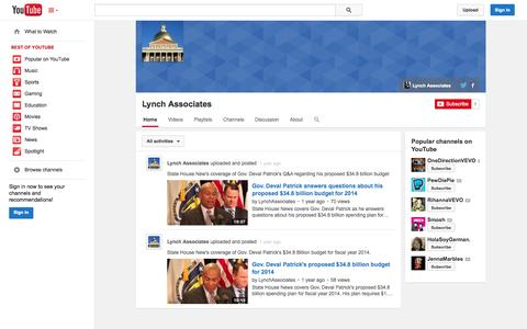 Screenshot of YouTube Page youtube.com - Lynch Associates  - YouTube - captured Oct. 22, 2014