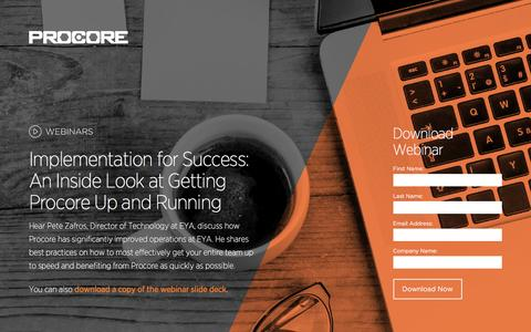 Screenshot of Landing Page procore.com - Procore Webinar on Procore Implementation with Pete Zafros from EYA. - captured March 26, 2016
