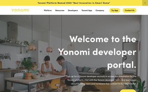 Screenshot of Developers Page yonomi.co - Developer Portal — Yonomi - captured Feb. 8, 2020