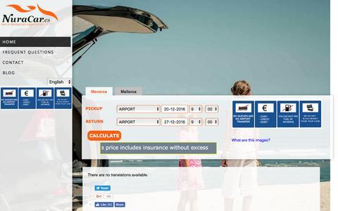 Screenshot of Home Page nuracar.es - Alquiler de coches en Menorca y Mallorca con Nuracar.es | Nuracar - captured Dec. 19, 2016