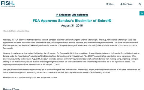 Screenshot of fr.com - FDA Approves Sandoz's Biosimilar of Enbrel® | Fish - captured Sept. 2, 2016