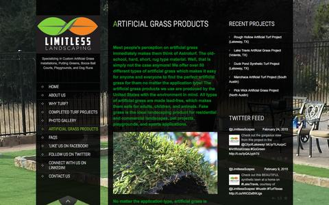 Screenshot of Products Page limitlessscapes.com - Products | Limitless Landscaping | Artificial Grass - Austin - captured Jan. 30, 2016