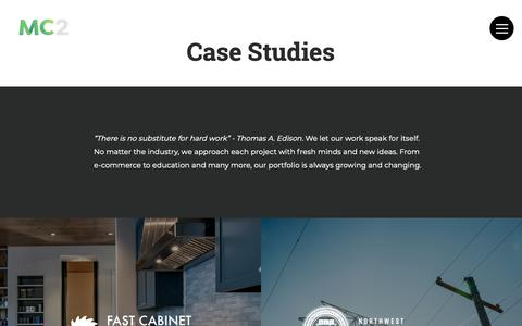 Screenshot of Case Studies Page mc2design.com - Case Studies | MC2 - captured Sept. 30, 2018