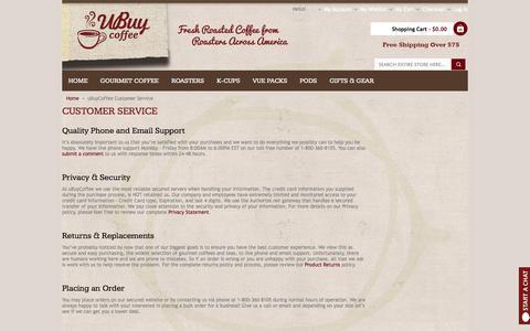 Screenshot of Support Page ubuycoffee.com - uBuyCoffee Customer Service - captured Oct. 27, 2014
