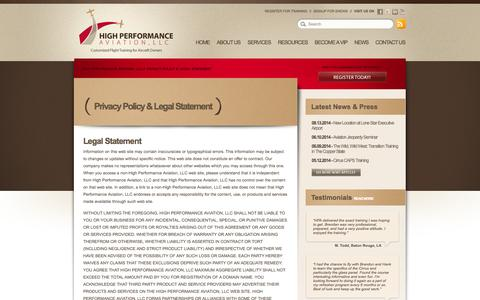 Screenshot of Terms Page flyhpa.com - Privacy Policy & Legal Statement // High Performance Aviation, LLC - captured Oct. 2, 2014