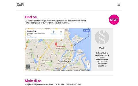 Screenshot of Contact Page cepi.dk - Kontakt - CePI - captured Jan. 26, 2016