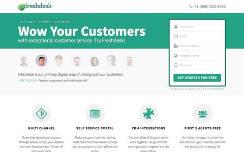 Screenshot of Landing Page freshdesk.com - Freshdesk customer support software | Start supporting customers for FREE - captured Oct. 27, 2014