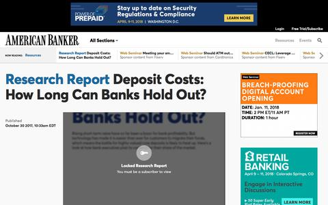 Deposit Costs: How Long Can Banks Hold Out?  | American Banker