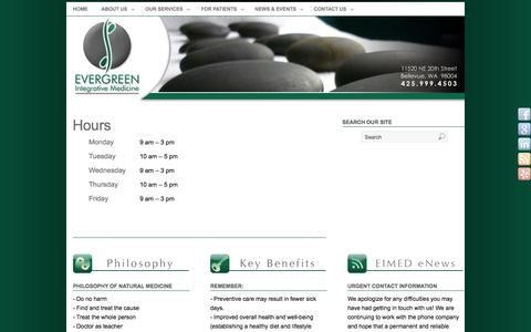 Screenshot of Hours Page eimed.com - Hours - Naturopathic Medicine | Evergreen Integrative Medicine LLC - captured Oct. 27, 2014