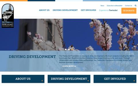 Screenshot of Home Page pawtucketfoundation.org - The Pawtucket Foundation – Economic Development for Pawtucket, RI - captured Oct. 23, 2017