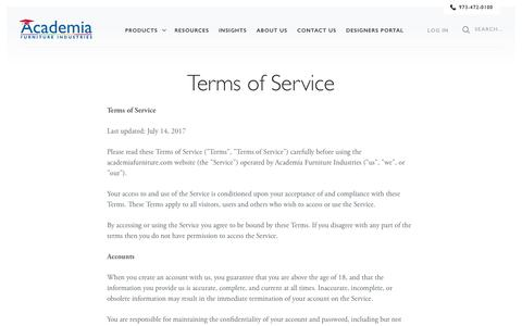 Screenshot of Terms Page academiafurniture.com - Terms of Service - Academia Furniture - captured July 28, 2018