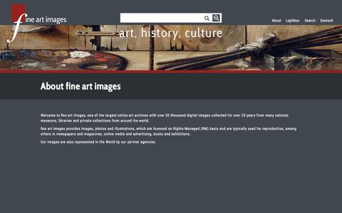 Screenshot of About Page fine-art-images.net - Fine Art Images - About Fine Art Images |  The Archive of visual and fine arts - captured May 24, 2016