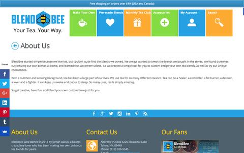 Screenshot of About Page blendbee.com - About Us | BlendBee - Your Tea. Your Way. - captured Oct. 27, 2015