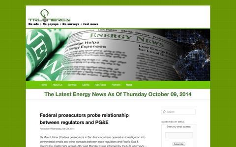 Screenshot of Press Page truenergy.net - TruEnergy News - The latest news in the energy market.TruEnergy News   The latest news in the energy market. - captured Oct. 9, 2014
