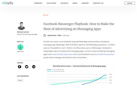 Screenshot of Blog adaptly.com - Facebook Messenger Guide: How to Advertise on Social Messaging Apps - captured Dec. 17, 2018