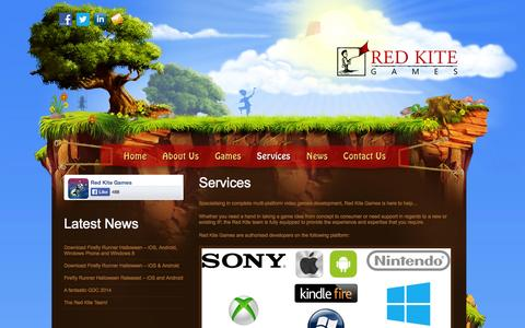 Screenshot of Services Page redkitegames.co.uk - Services | Red Kite Games - captured Oct. 26, 2014