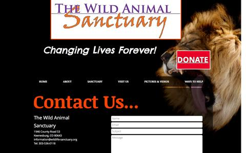 Screenshot of Contact Page wildanimalsanctuary.org - Contact us - captured Sept. 3, 2016