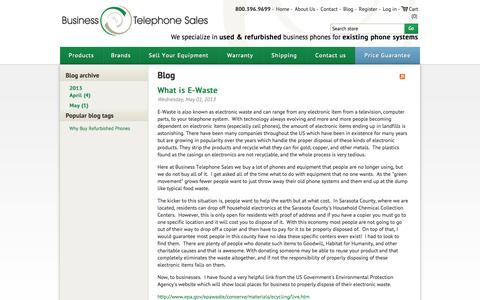 Screenshot of Blog businesstelephone.com - Business Phones - Used and Refurbished - Business Telephone Sales. Blog - captured Sept. 19, 2014
