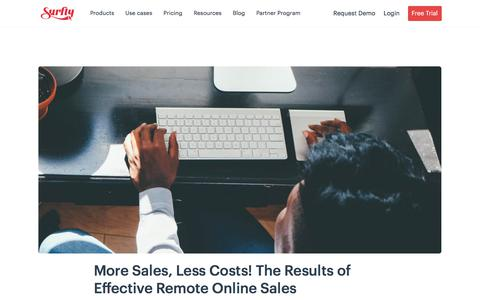 Screenshot of Pricing Page surfly.com - More Sales, Less Costs! The Results of Effective Remote Online Sales - Surfly - captured Jan. 3, 2020