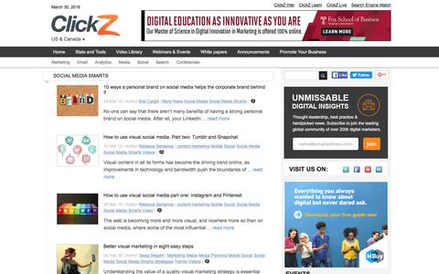 Screenshot of clickz.com - Social Media Smarts | ClickZ - captured March 30, 2016