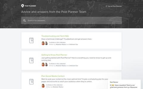 Screenshot of Support Page postplanner.com - Post Planner says… - captured May 22, 2018
