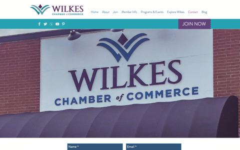 Screenshot of Contact Page wilkeschamber.com - Wilkes Chamber of Commerce | Contact - captured Oct. 18, 2018