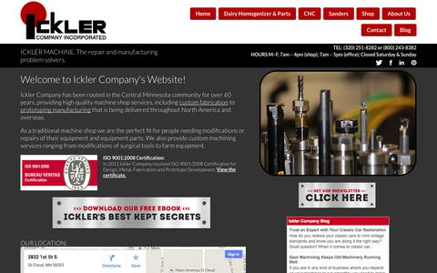 Screenshot of Home Page ickler.com - Ickler Company :: Custom Machining and Prototype Fabrication in Central Minnesota - captured Oct. 6, 2014