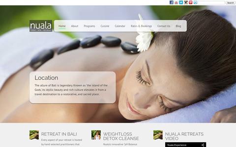 Screenshot of Home Page nualaretreats.com - Meditation Retreat | Detox Retreat | Weightloss Retreat | | Nuala Retreats, Bali Indonesia - captured Sept. 30, 2014