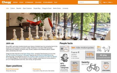 Screenshot of Jobs Page chegg.com - Chegg.com - captured June 16, 2015