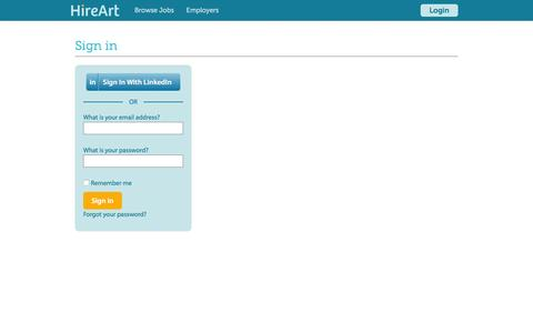 Screenshot of Login Page hireart.com - HireArt: Source and screen job applicants through video interviews and work samples. - captured March 1, 2016