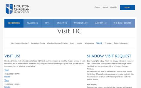 Screenshot of Contact Page Maps & Directions Page houstonchristian.org - Visit HC - captured Nov. 11, 2018