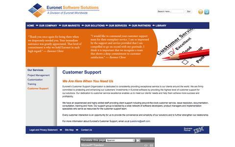 Screenshot of Support Page euronetsoftware.com - Customer Support   Euronet Software - captured March 2, 2016