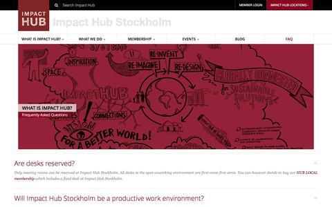Screenshot of FAQ Page impacthub.net - FAQ   Impact Hub Stockholm - captured Sept. 18, 2014