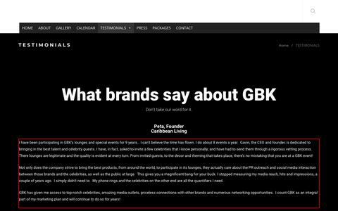 Screenshot of Testimonials Page gbkproductions.com - TESTIMONIALS - captured June 16, 2019
