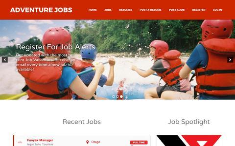 Screenshot of Home Page adventurejobs.co.nz - Adventure Jobs | the website for Adventure Professionals - captured Oct. 7, 2017