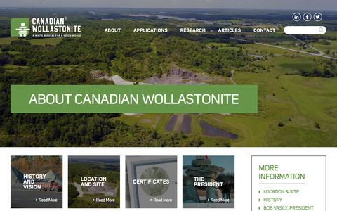 Screenshot of About Page canadianwollastonite.com - About - Canadian Wollastonite - captured Sept. 26, 2018
