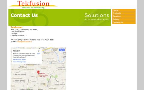 Screenshot of Contact Page tekfusion.in - Contact Us| Tekfusion| Chennai| Network Cabling| System Integrator| Structured Cabling - captured Oct. 9, 2014