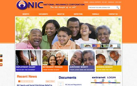 Screenshot of Home Page stlucianic.org - St .Lucia National Insurance Corporation - Home - captured Oct. 6, 2014