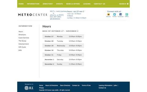 Screenshot of Hours Page metrocentermall.com - Hours   Metrocenter Mall   Phoenix, Arizona - captured Oct. 27, 2014