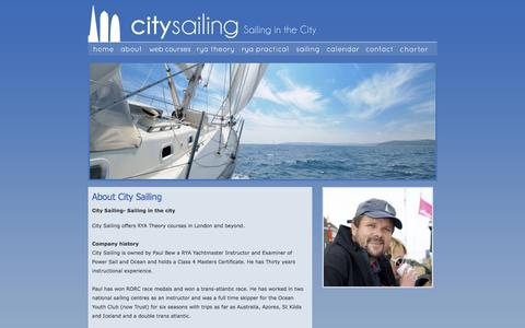 Screenshot of About Page citysailing.com - About City Sailing | London RYA Courses in your Office - captured Dec. 9, 2015