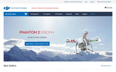 Screenshot of Home Page dji.com - DJI - The World Leader in Camera Drones/Quadcopters for Aerial Photography - captured Sept. 18, 2014